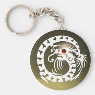 SNAKE DRAGON,white,red  ruby,grey agate Basic Round Button Keychain