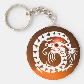 SNAKE DRAGON,white,red  ruby, orange yellow agate Basic Round Button Keychain