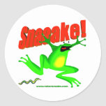 SNAKE! 'fraidy frog Classic Round Sticker