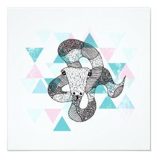 Snake geometric illustration postcard