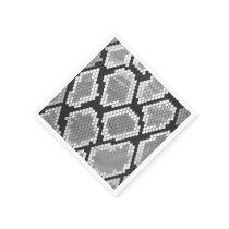 Snake Gray and Light Gray Print Paper Napkin