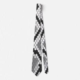 Snake Gray, White and Black Print Neck Tie