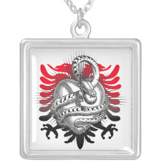 Snake Griffin Heart Square Pendant Necklace