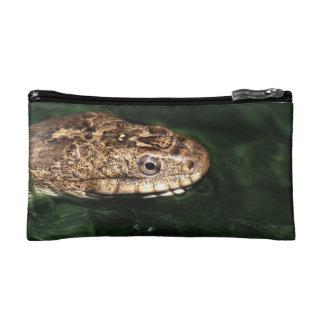 snake in emerald water makeup bag