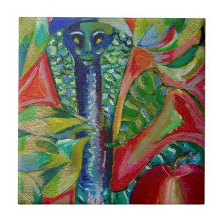 snake in the garden ceramic tile
