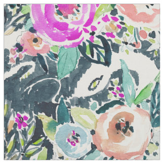 SNAKE IN THE GARDEN Edgy Floral Watercolor Fabric