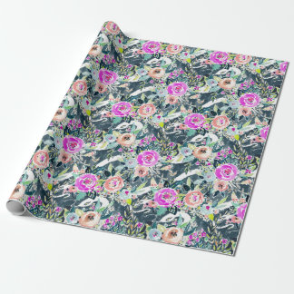 SNAKE IN THE GARDEN Edgy Floral Watercolor Wrapping Paper