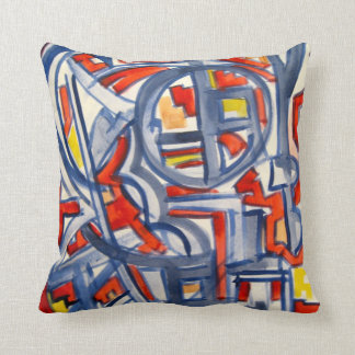 Snake In The Henhouse-Abstract Art Brushstrokes Throw Pillow