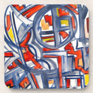 Snake In The Henhouse - Abstract Art Handpainted Beverage Coaster