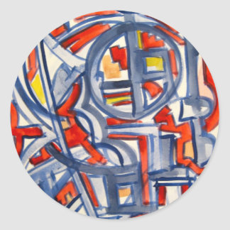 Snake In The Henhouse - Abstract Art Handpainted Classic Round Sticker