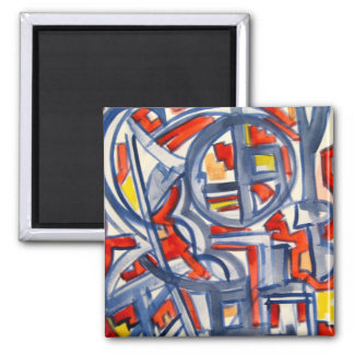 Snake In The Henhouse - Abstract Art Handpainted Magnet