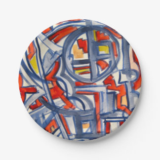 Snake In The Henhouse-Abstract Art Handpainted Paper Plate