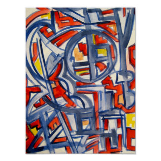 Snake In The Henhouse - Abstract Art Handpainted Poster