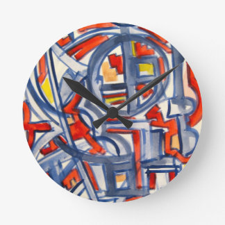 Snake In The Henhouse - Abstract Art Handpainted Round Clock