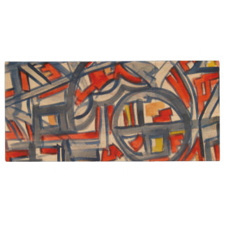 Snake In The Henhouse - Abstract Art Handpainted Wood Flash Drive