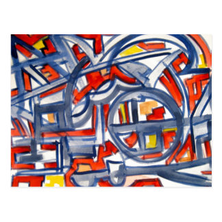 Snake In The Henhouse - Abstract Art Postcard