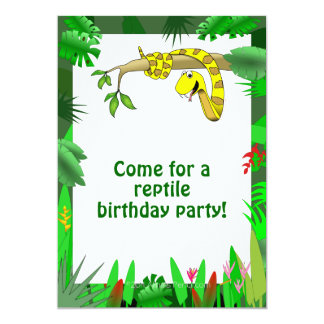 Snake in Tree Custom Reptile Birthday Invitations