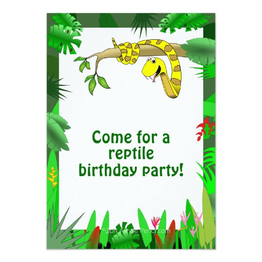 Snake In Tree Custom Reptile Birthday Invitations Zazzle Com