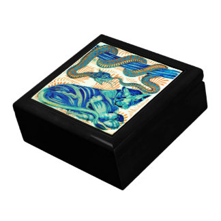 Snake & Jungle Cat Ceramic Tile 19th Cen.-Box 1 Jewelry Box