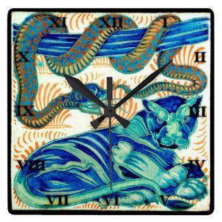 Snake & Jungle Cat Ceramic Tile 19th Cen.-Clock 1 Square Wall Clock