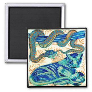 Snake & Jungle Cat Ceramic Tile 19th Cen.-Magnet 1 2 Inch Square Magnet