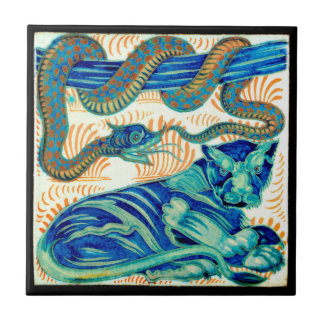 Snake & Jungle Cat Ceramic Tile 19th Cen.-Trivet 1