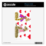 Snake King and Queen of Hearts iPhone4 Skin Decal For iPhone 4S