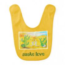 """Snake Love - """"Animal Love"""" Drawing Baby Bib"""