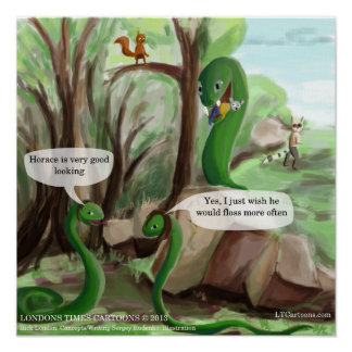 Snake & Mouse Funny Poster Poster