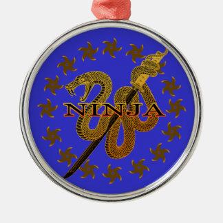 Snake Ninja 01 Metal Ornament
