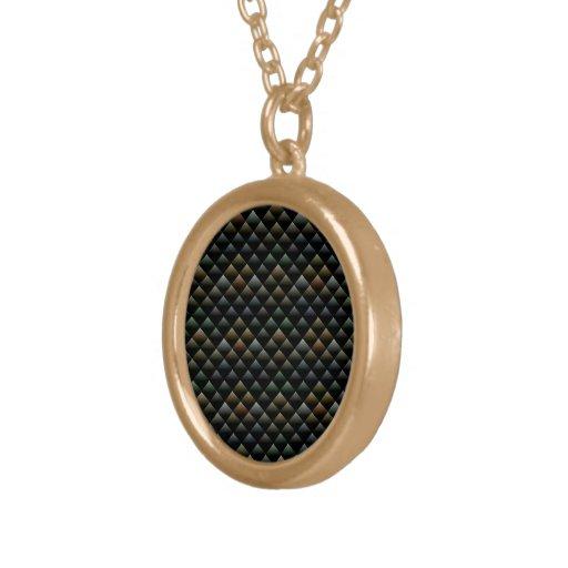 Snake Pattern Round Pendant Necklace