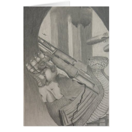 Snake Pencil Drawing Card