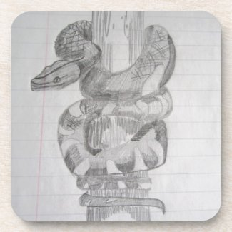 Snake Pencil Drawing Coaster