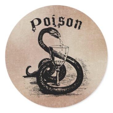 Halloween Themed Snake Poison Halloween Gothic Classic Round Sticker