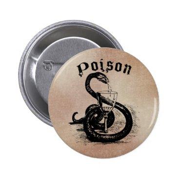 Halloween Themed Snake Poison Halloween Gothic Pinback Button