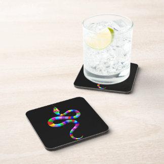 Snake Psychedelic Rainbow Cork Coaster