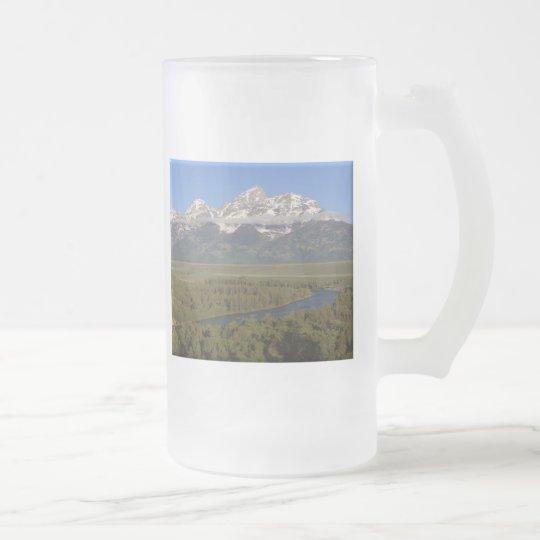 Snake River Grand Tetons Frosted Glass Beer Mug