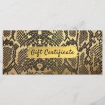 Snake Skin Animal Print Gold Foil Gift Certificate