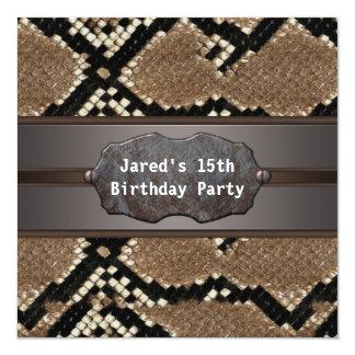 Snake Skin Birthday Party 5.25x5.25 Square Paper Invitation Card