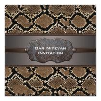 Snake Skin Brown and Black Rustic Bar Mitzvah Invitation