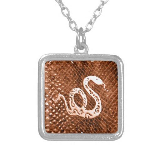 Snake Skin chinese new year orange Necklaces