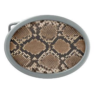 Snake Skin Pattern Oval Belt Buckle