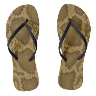 Snake skin, reptile pattern flip flops
