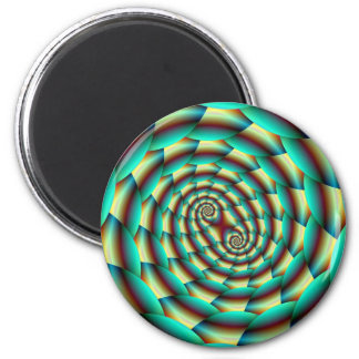 Snake Skin Spiral in Green and Yellow Magnet