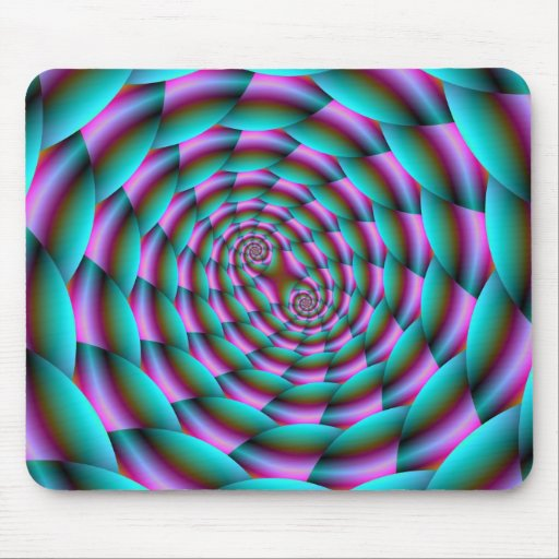 Snake Skin Spiral in Turquoise and Pink Mousepad