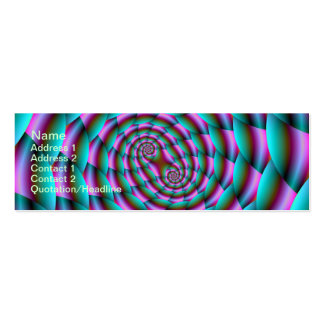 Snake Skin Spiral in Turquoise and Pink Skinny Bus Mini Business Card