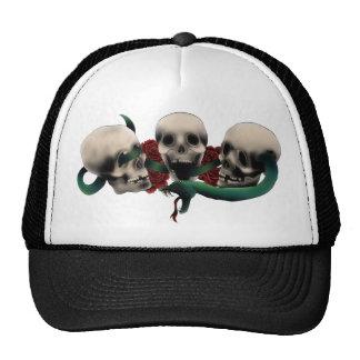 Snake, skulls and roses. Tattoo design Trucker Hat
