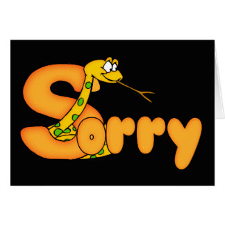 Snake Sorry Card With Large Sorry Word