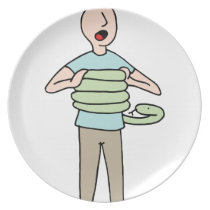 Snake Squeezing Man Asthma Melamine Plate
