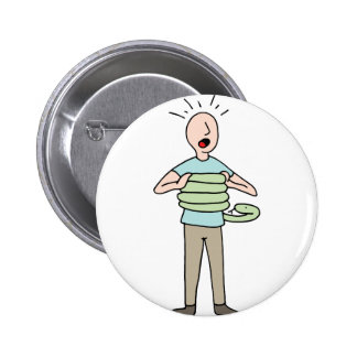 Snake Squeezing Man Asthma Pinback Button